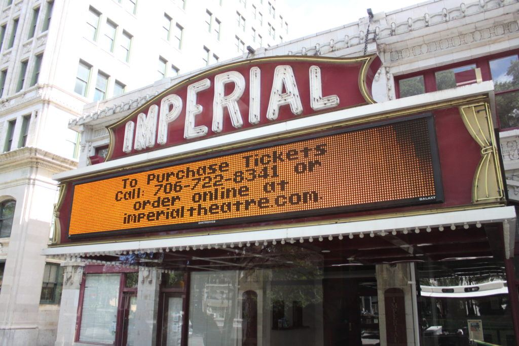 Theater marquis with letters spelling Imperial