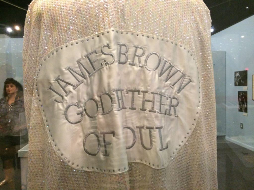 Sequined cape reading James Brown Godfather of Soul