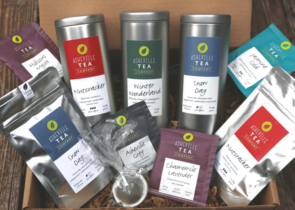 box of tea tins